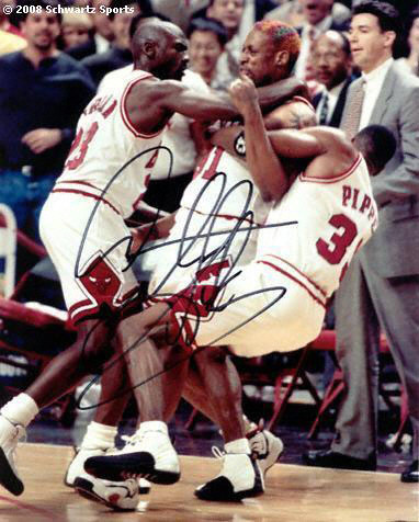 Image - Dennis Rodman gets tackled by Michael Jordan and Scottie ...