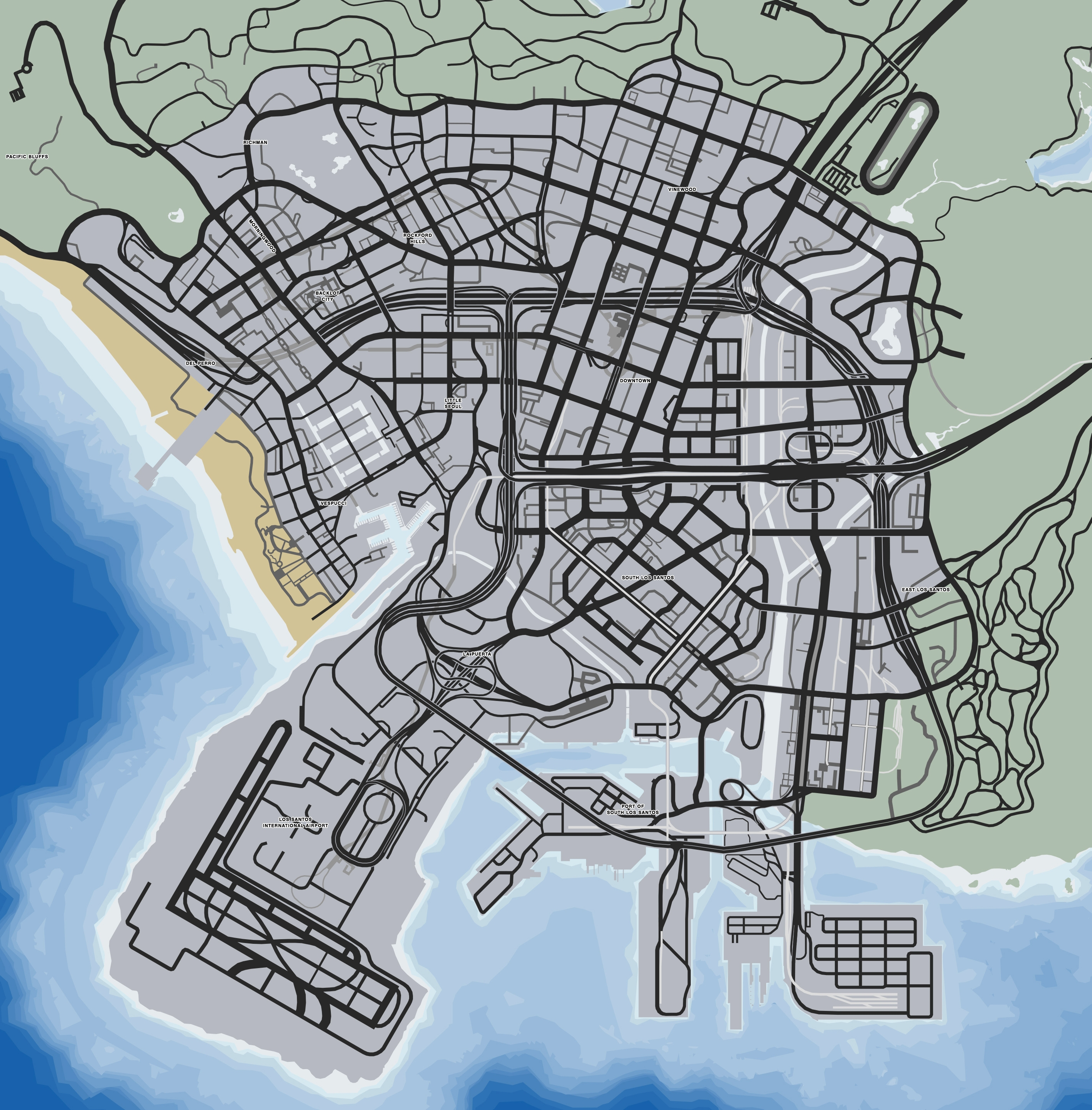 Gta V Map Los Santos - BerkshireRegion