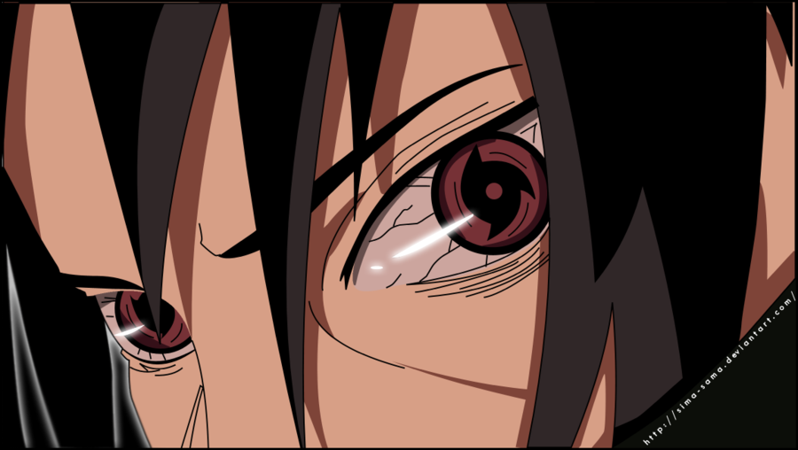 Sasuke Uchiha mengaktipkan Mangekyou Sharingan. Yang sangat ...