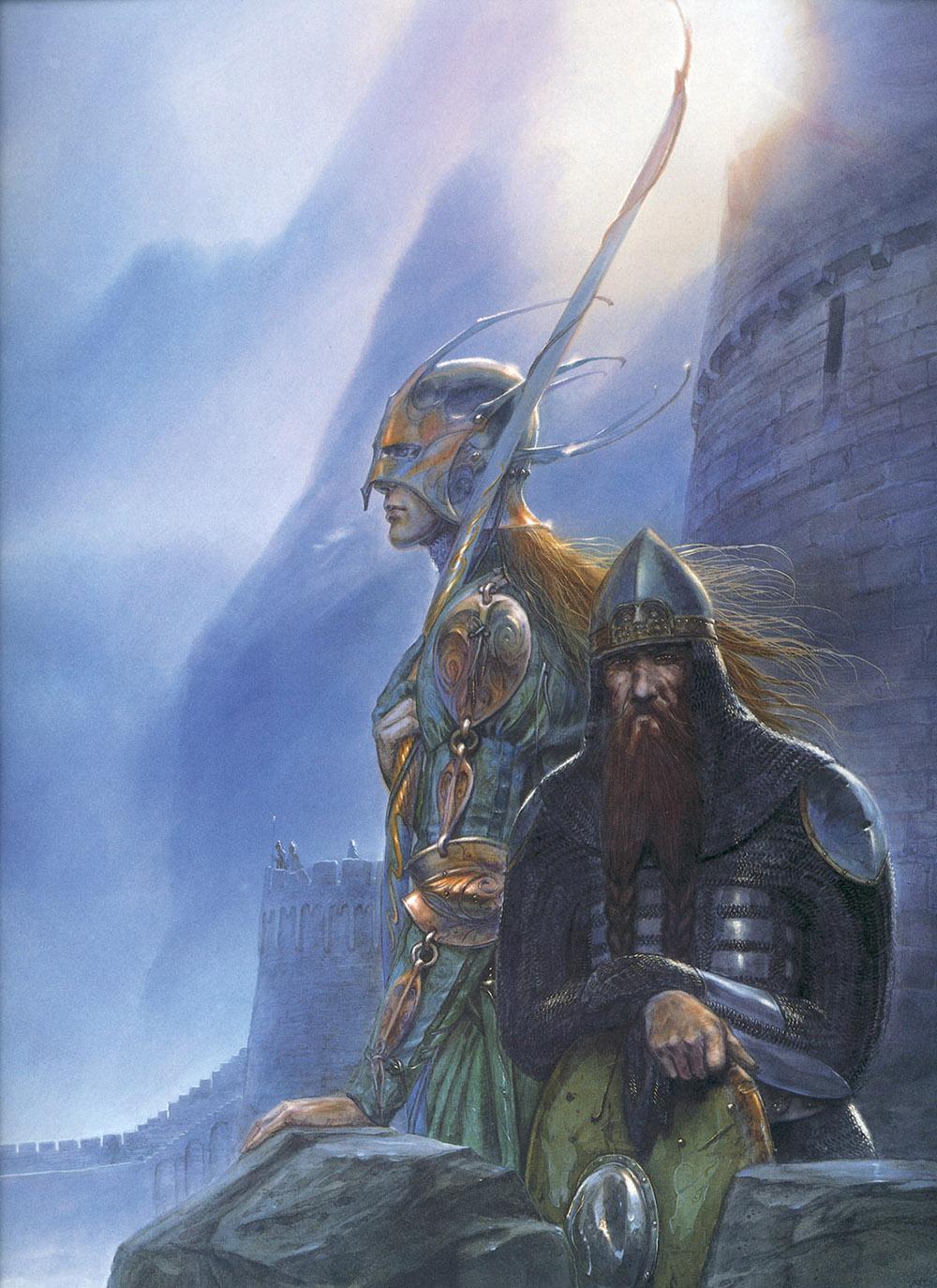 John Howe - Legolas and Gimli at Helm's Deep