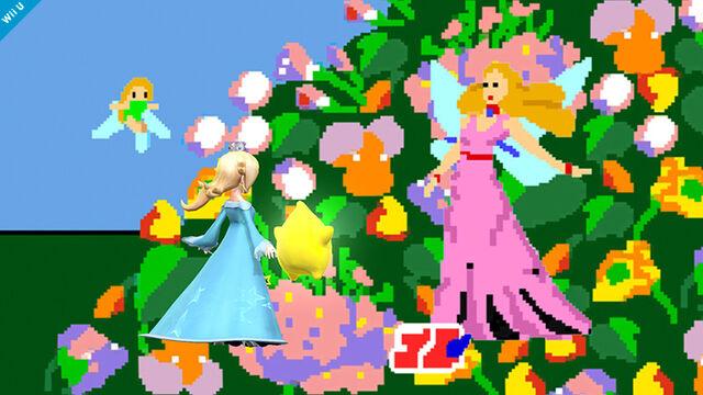 :Estela junto a la reina de las Hadas en Pac-Land SSB4 (Wii U).jpg