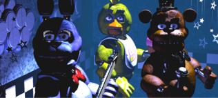 From left to right bonnie chica and freddy staring at the camera