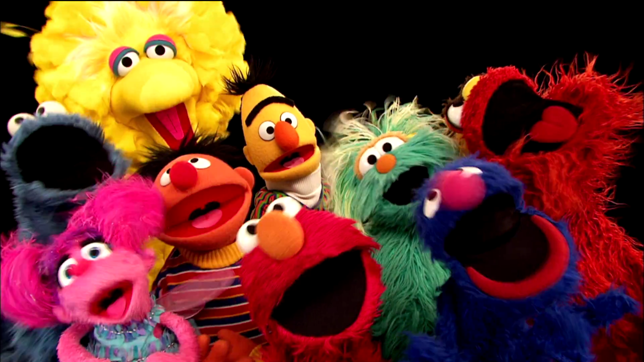 Elmo and the gang introduce the letter of the day , P, with a song and ...
