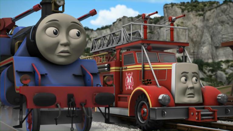 ソドーレスキューセンター駅でアニーとクララベルを牽引しているトーマスとベルとフリンと一緒に居るブッチ