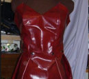 Red patent leather dress