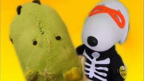 Dancing Halloween Snoopy in Skeleton Costume.