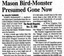 Mason Bird Monster Presumed Gone Now