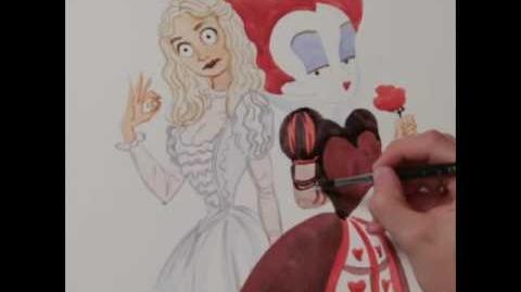Alicia a través del espejo Dibujo Reina Blanca y Reina Roja