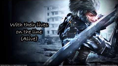 Metal Gear Rising - Rules of Nature lyrics on the screen