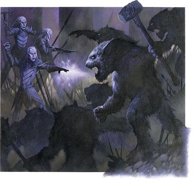 Quaggoths surround a Drow Raiding Party
