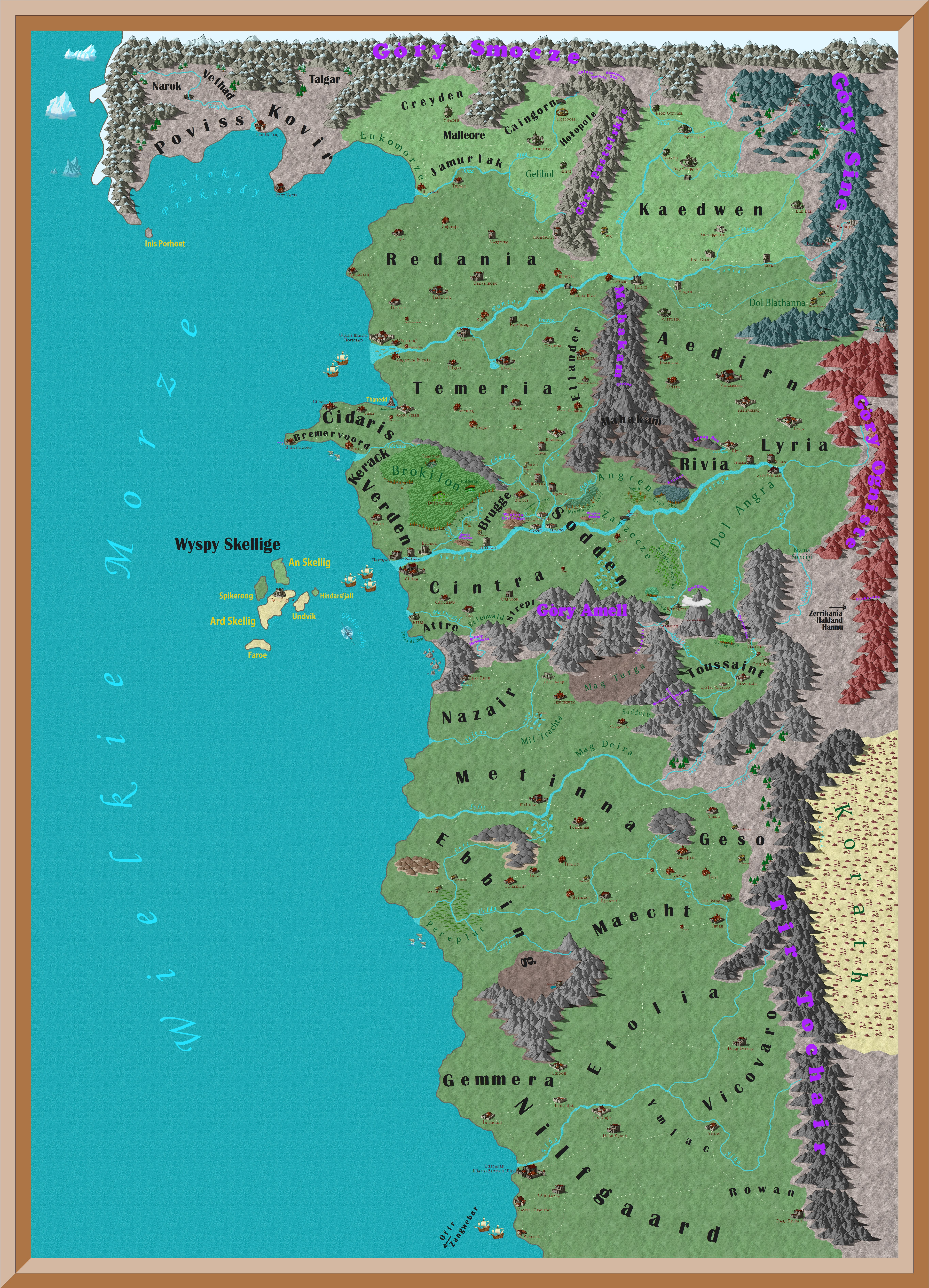 Is there a plete map of the world of The Witcher e that shows
